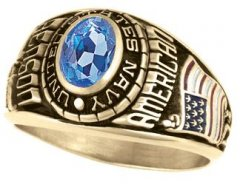 Navy Ring - Women's Facet Cut